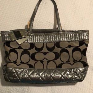 Grey and Black Coach tote purse